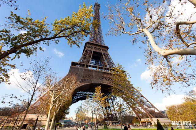 Torre Eiffel entre árboles Vista general de la Torre Eiffel entre árboles desde el campo de Marte París Francia 640x426 La Torre Eiffel, icono de París