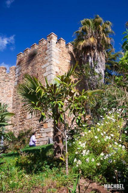 Castillo de Jerez de los Caballeros Un señor sube por un camino rodeado de palmeras alrededor del castillo de Jerez de los Caballeros Extremadura 426x640 7 pueblos de Extremadura que tienes que visitar (parte I)