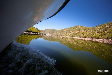 Vista a ras del río Tajo del avance del barco por el Parque Natural del Taejo Internacional