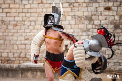 Recreación de la lucha entre gladiadores de Tarraco Viva 2013. Tarragona, Cataluña, España