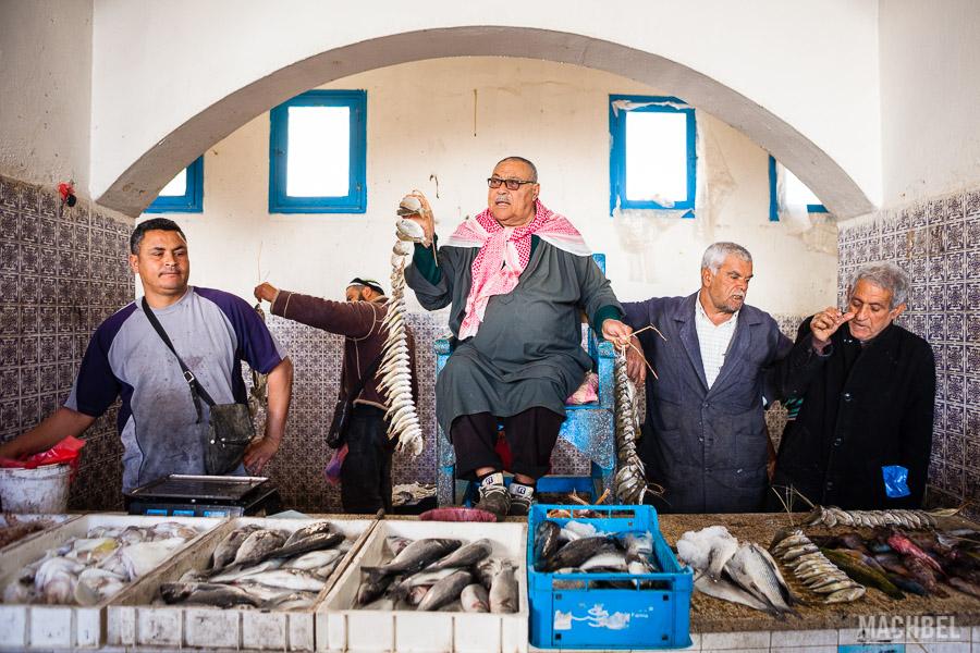 Subasta de pescado en Djerba