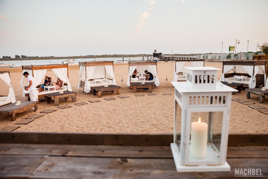 Horizontal Beach Club El Rompido al atardecer