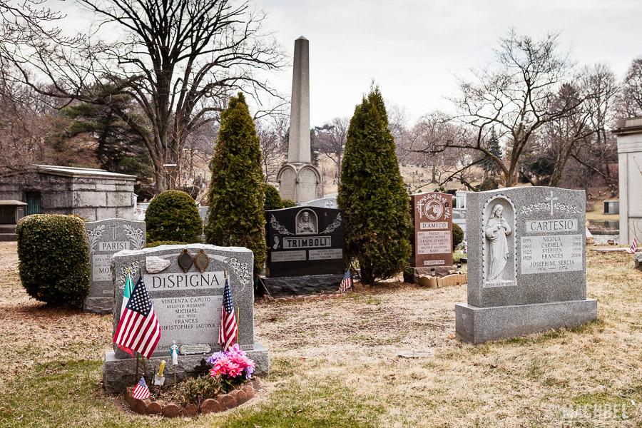 Detalle de lápidas del cementerio de Green-wood