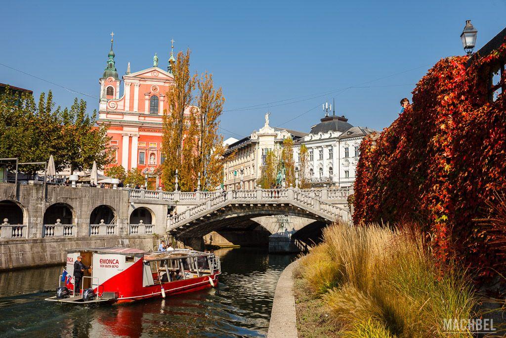 Río de Liubliana e iglesia de la Anunciación