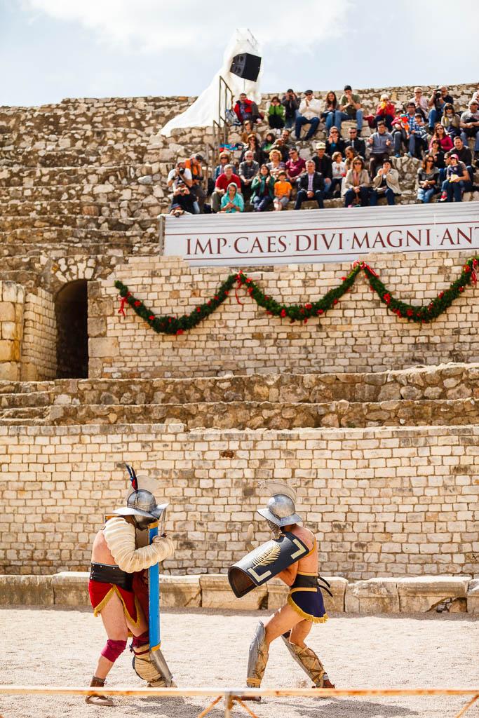 Lucha de gladiadores en el anfiteatro